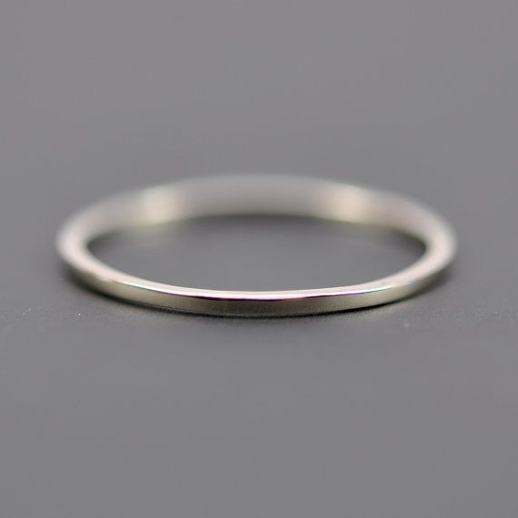 Skinny White Gold Wedding Band, Square Edge, 1mm by 1mm, 14K Palladium White Gold, Sea Babe Jewelry