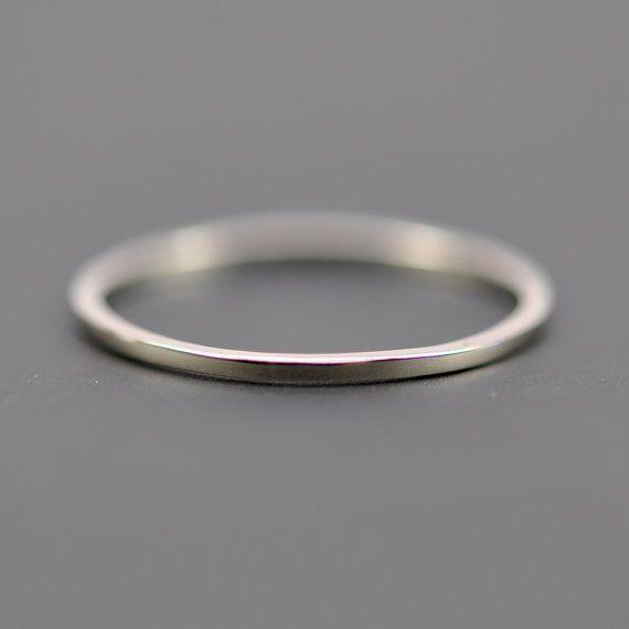 Skinny White Gold Wedding Band, Square Edge, 1mm by 1mm, 14K Palladium White Gold, Sea Babe Jewelry