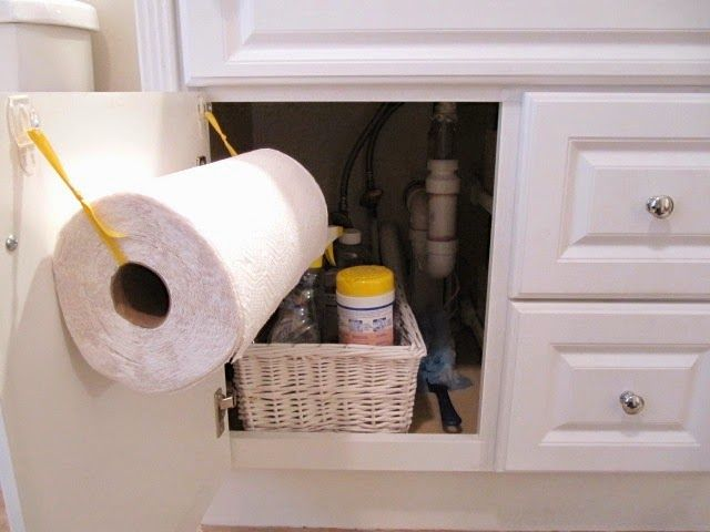 DIY Under Sink Paper Towel Holder…2 Hooks and Ribbon!