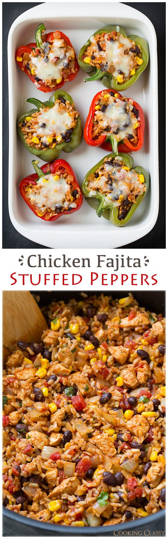 Chicken Fajita Stuffed Bell Peppers - These healthy peppers are delicious! This would make a great taco filling if you don't want to do peppers. It has chicken, brown rice, black beans, corn, tomatoes, onions, seasonings, lime, and cilantro. // Chicken: https://www.zayconfoods.com/campaign/27