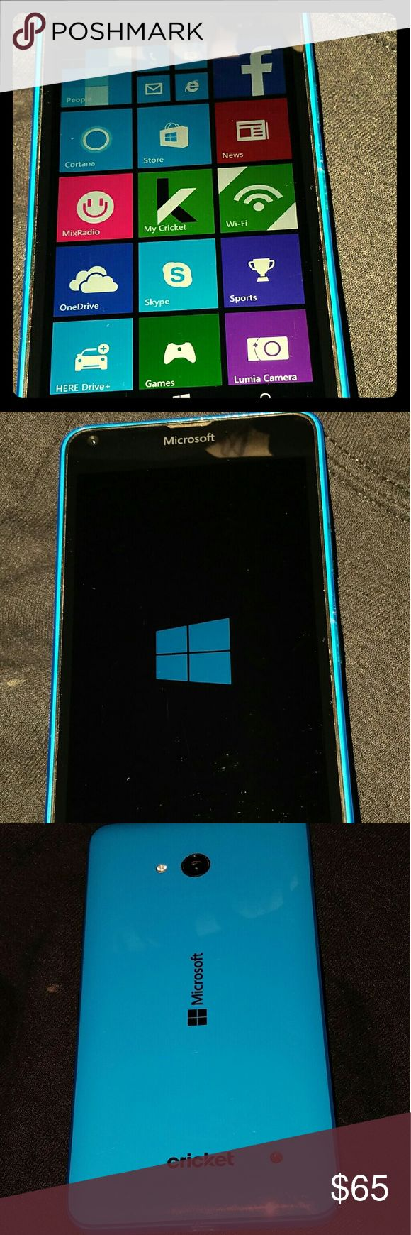 "BRAND NEW- NO BOX- Microsoft Lumia- 640 Cell Phone Brand new (NOT in Original Box) Microsoft Lumia- 640  4G LTE >>Operating on Windows 8.1 Software<< This phone is unlocked to ""Cricket"" phone carrier.. It has NO passwords, NO locks, NO locked screens, and it has NOT been used or hooked up on a line yet.. It's Brand new.. And ready to be hooked up on your Cricket line! Color is Baby Blue. Uses Micro SIM card.. SEND ME YOUR OFFER!! :):) Microsoft Windows Other"