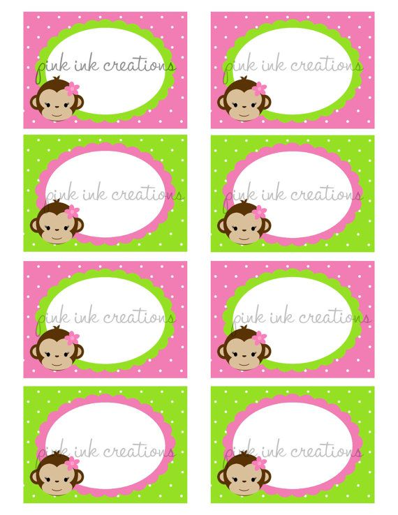 Mod Monkey Girl - Food Cards/Candy Jar Labels/Place Cards - INSTANT DOWNLOAD - DIY Printable - Pink Lime Green Monkey Girl