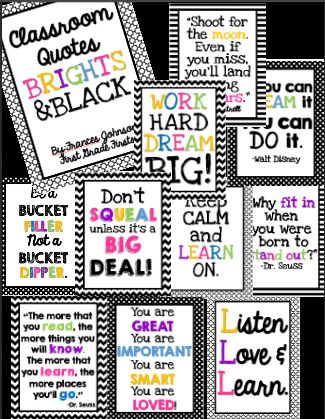 Bright and black chevron posters: These posters are great to brighten up any classroom!