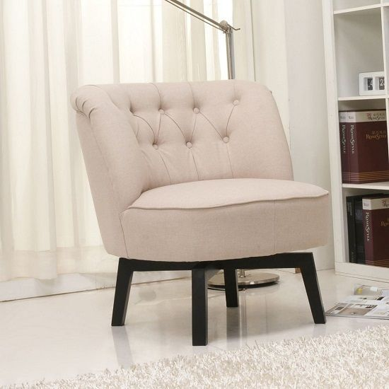 Modern Mid Century Swivel Accent Barrel Slipper Chair Fabric Tufted Foam  Beige | Slipper Chairs, Chair Fabric And Barrels