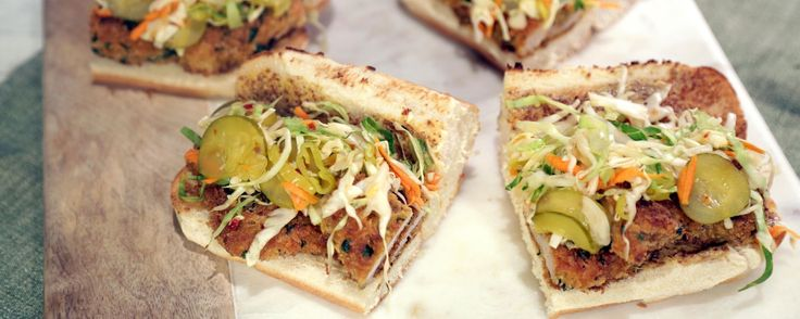 This sandwich is sure to satisfy your hunger!  Mario Batali's Hungarian Pork Cutlet Sandwich