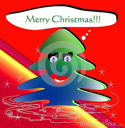 An isolated funny Christmas tree with mouth and eyes that makes wishes.