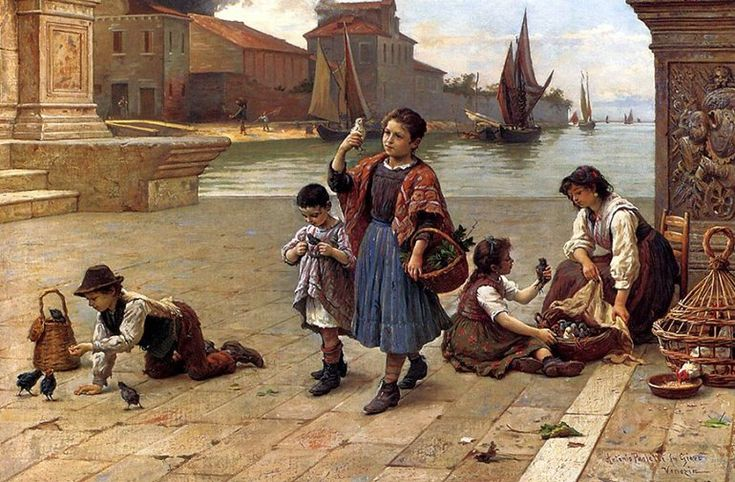 Antonio Ermolao Paoletti (1834-1912) was an Italian painter, mainly of Venetian genre scenes, recalling Bamboccianti life of children and women, as well as sacred fresco work for churches in the Veneto. Among his many frescoes is the main altarpiece depicting the Madonna of the Rosary with St Anthony and St Materno (1863) for the parish church of Melara. Like his father, Antonio also became a professor at the Accademia.