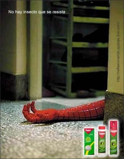 este anuncio indica que este spray es capaz de matar cualquier cosa que este relacionada con los insectos incluso con spiderman el hombre araña