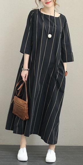 FALL STRIPED LOOSE MAXI DRESS FOR WOMEN Q1337