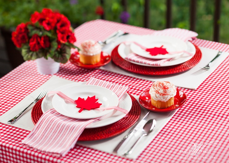 Canada Day is like the Fourth of July to us Americans. This table decorating idea comes from Dinner4Two.  http://www.theWrightlight.com
