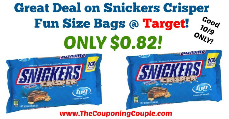 HOT DEAL ~ Pick up for Halloween, or for now if you are like me! *SUNDAY ONLY* Great Deal on Snickers Crisper Fun Size Bags @ Target!  Click the link below to get all of the details ► http://www.thecouponingcouple.com/great-deal-on-snickers-crisper-fun-size-bags-target/ #Coupons #Couponing #CouponCommunity  Visit us at http://www.thecouponingcouple.com for more great posts!