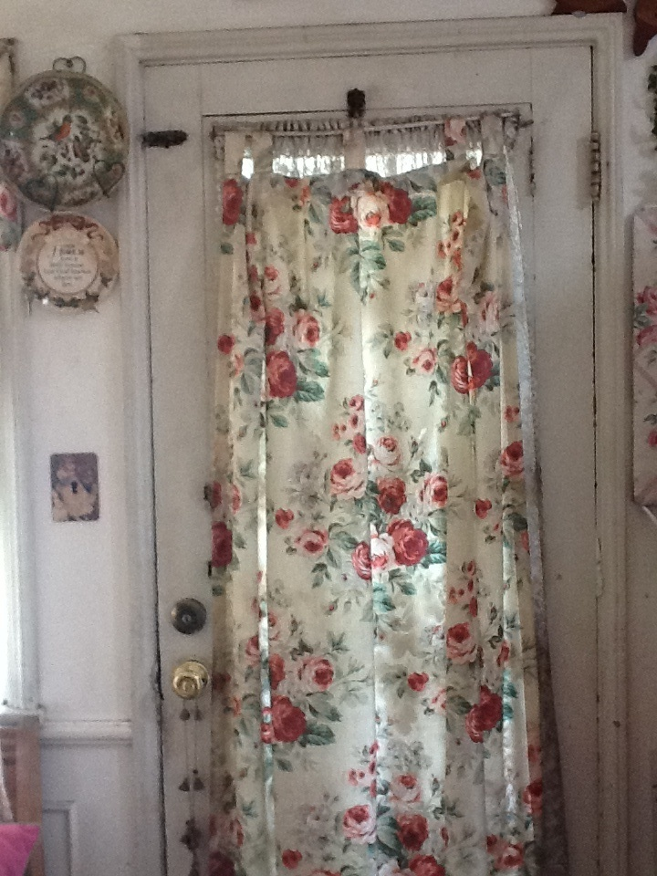 Vintage Wood Back Door With Rose Curtain