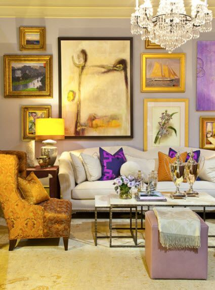 fabulous wall of art!: Decor, Wall Art, Colors Combos, Livingroom, Living Room, Colors Combinations, Gold Accent, Gallery Wall, Gray Wall