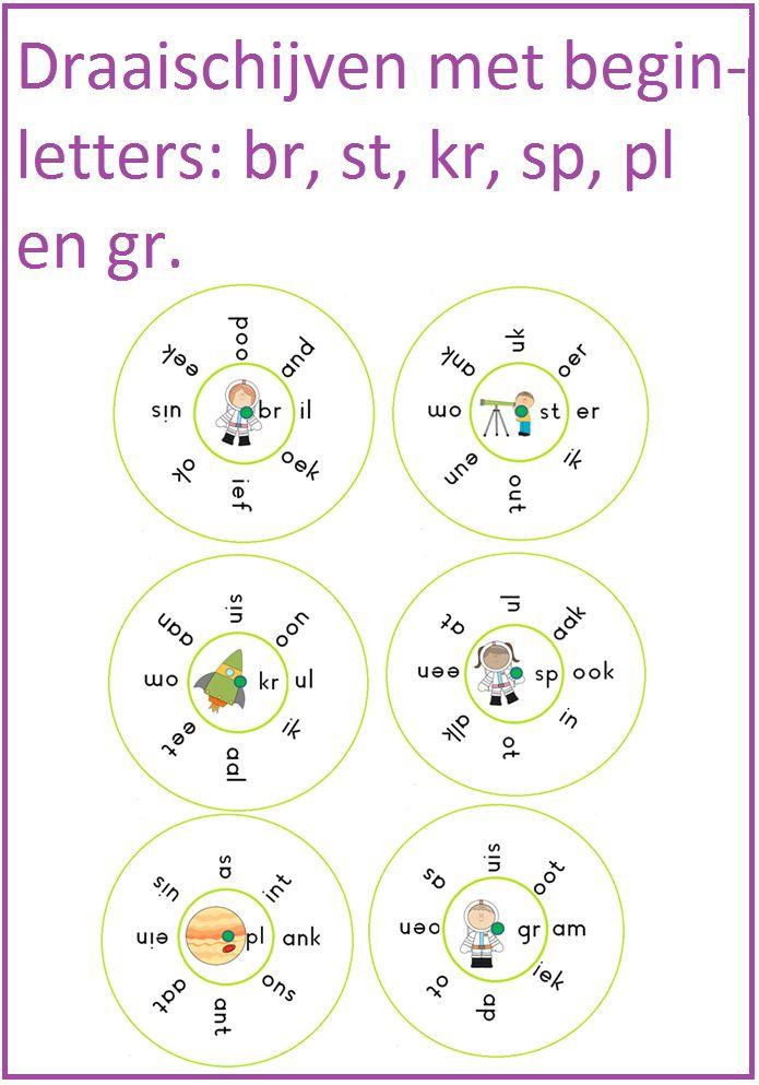 Draaischijven met de letters br, st, kr, pl, gr etc. Leuk te gebruiken bij tehma 7 van Lijn 3.