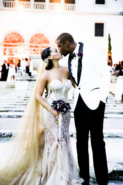 The bride, Alexis (Welch) Stoudemire in a custom J'Aton #Bridal #Gown w/groom, Amare.