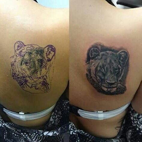 Lion cover-up tattoo