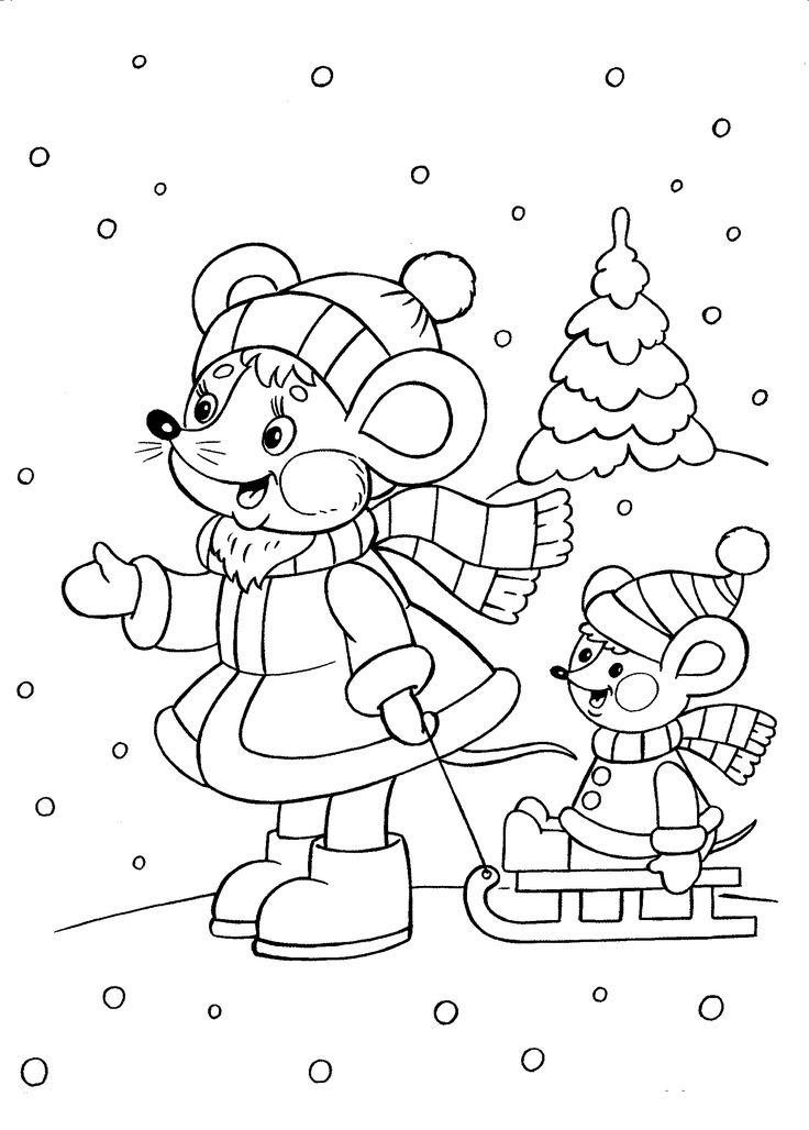 Kleurplaat, muizen in de sneeuw / raskraski