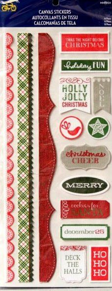 Little Yellow Bicycle Canvas Christmas Stickers
