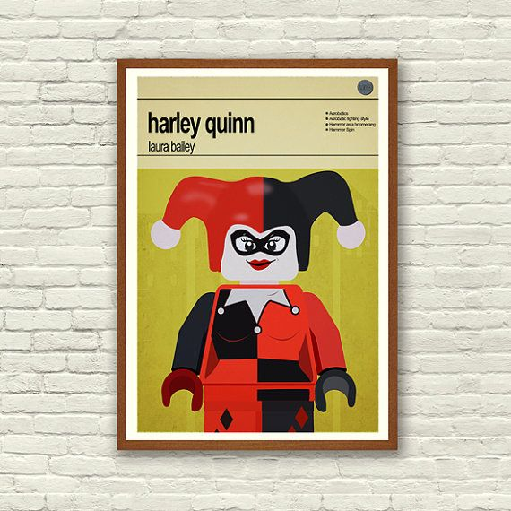 This is a stylish poster print of the Lego Marvel Super Hero/Villain Harley Quinn, fit to grace any man cave or children's bedroom. Hand drawn with a graphics tablet and pen this print is styled with typography and features the actor who voiced Harley Quinn in the Lego Marvel Super Heroes game and the Lego Super Hero abilities.