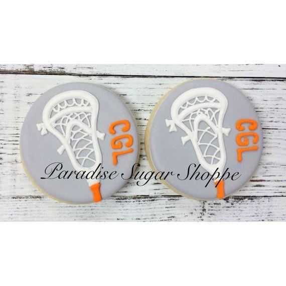 One Dozen Lacrosse Cookies by ParadiseSugarShoppe on Etsy