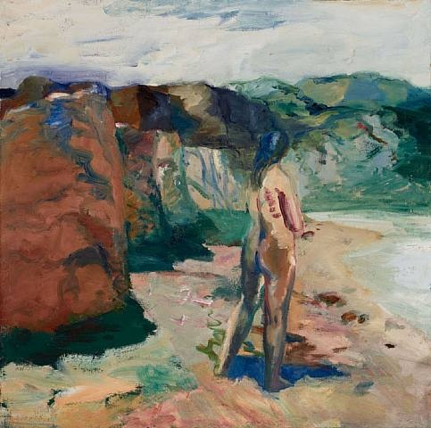 Elmer Nelson Bischoff, Figure with White Lake. ) was a visual artist in the San Francisco Bay Area. Bischoff, along with Richard Diebenkorn and David Park, was part of the post-World War II generation of artists who started as abstract painters and found their way back to figurative art.