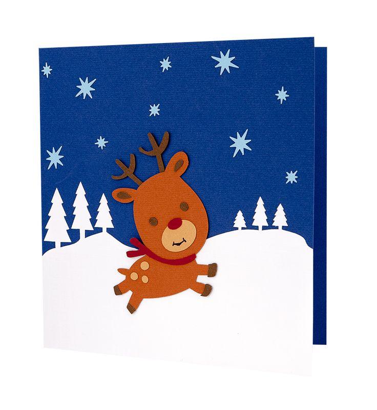 Felicitare Craciun cu model in forma de ren si brazi realizat din carton aplicat manual in multiple straturi #Craciun #ChristmasCard