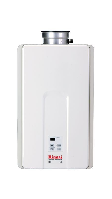 Rinnai V75IN 7.5 GPM Residential Indoor Natural Gas Tankless Water Heater with 1 White Tankless Water Heaters Whole House Gas/Propane