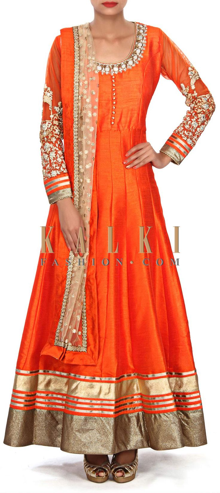 Buy Online from the link below. We ship worldwide (Free Shipping over US$100) Price- $159 Click Anywhere to Tag http://www.kalkifashion.com/orange-anarkali-suit-embellished-in-mirror-embroidery-only-on-kalki.html