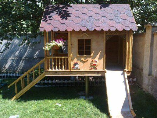 Детский домик для дачи своими руками - варианты, фото и чертежи конструции