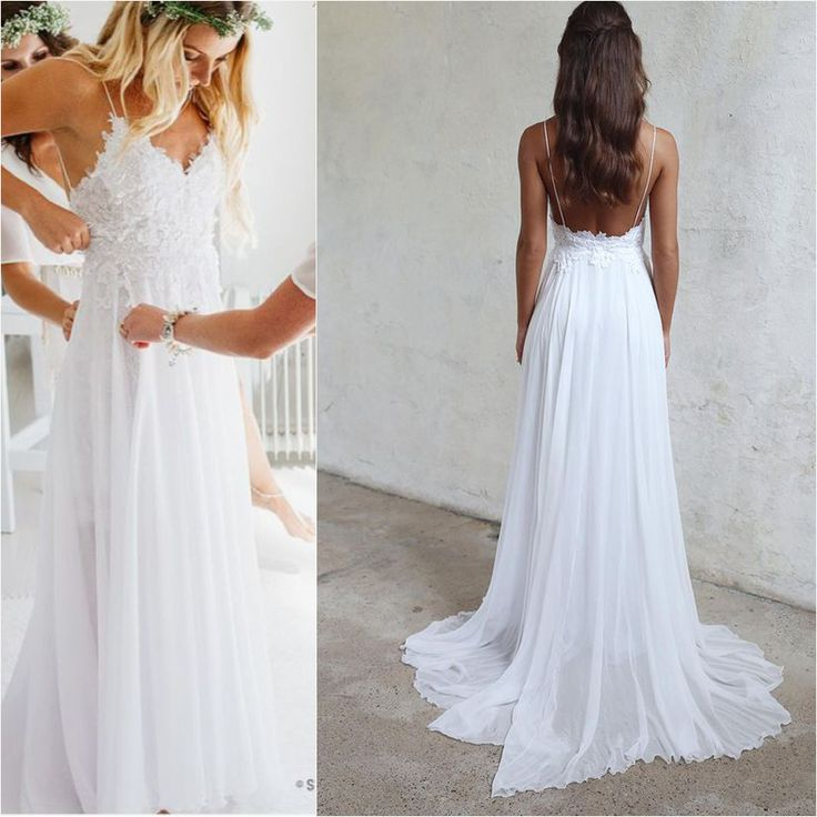 Spaghetti Strap White Chiffon Lace Appliqued V-neck Summer Beach Wedding Dresses,apd2477