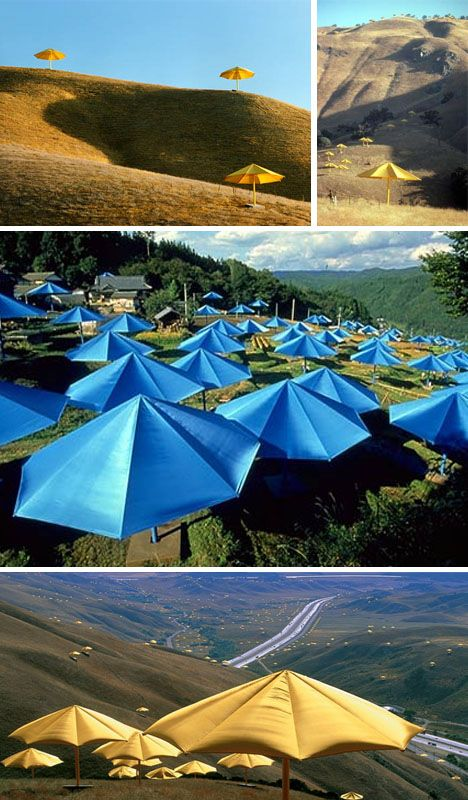 Christo + Jean-Claude, 1991: the joint Umbrella Project in Japan and California consists of opening 3,100 umbrellas in two places at once.