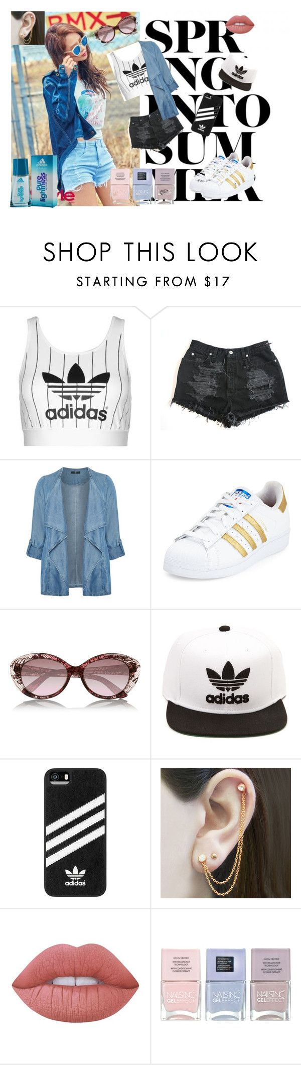 """""""Miss Sporty"""" by lujzazsu ❤ liked on Polyvore featuring adidas, Evans, Valentino, Embers Gemstone Jewellery, Lime Crime, Nails Inc., sporty and plus size clothing"""