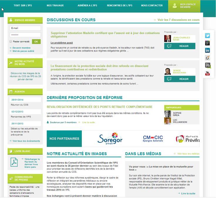 Site web de l''IPS, INSTITUT DE LA PROTECTION SOCIALE, think tank de- 2014.