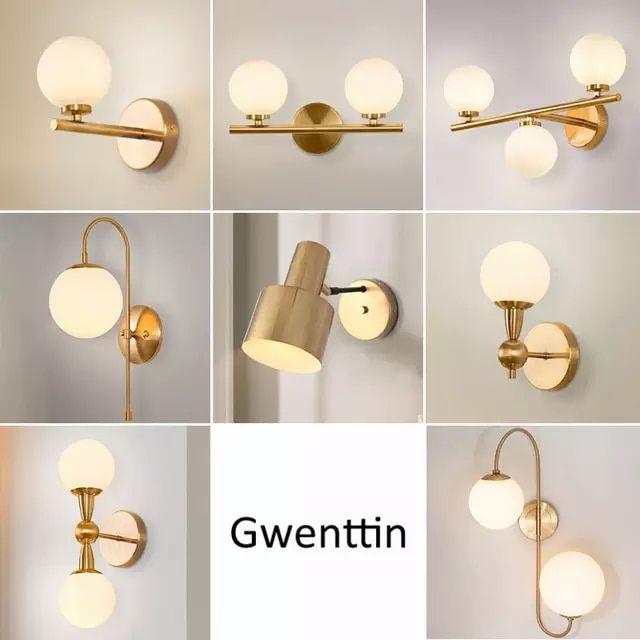 Oro Moderna Lámparas De Pared De Vidrio De Bola De Espejo Luces Para Baño De Noche Lámpara Indust Luces Para Espejo De Baño Luces Para Baños Lamparas Para Baño
