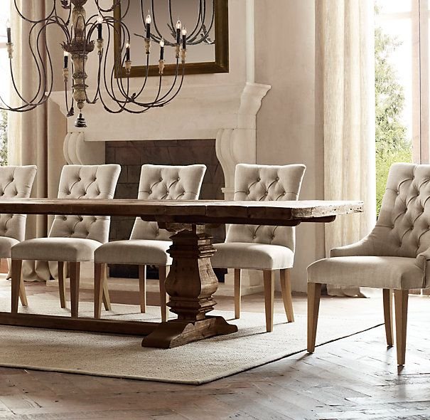Salvaged Wood Trestle Extension Dining Tables Restoration Hardware For 26 People