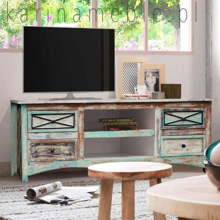 Meble loftowe mają czasami piękne, pastelowe kolory. Prezentowana szafka rtv będzie idealna do jasnego wnętrza. Ta szafka jest zrobione z litego drewna mango i malowane ręcznie. Idealne można kompletować z meble industrialne i mieście się do salonu, sypialni oraz do przedpokój.