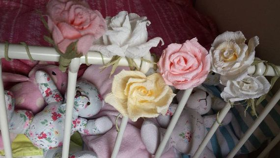7 pcs  Betsy Room paper flower crepe paper crepe by moniaflowers