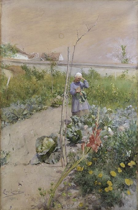 In the Kitchen Garden | Carl Larsson | 1883 | Nationalmuseum, Sweden | Public Domain Marked