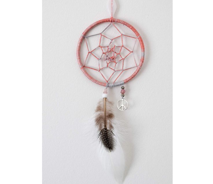 Small Boho Dreamcatcher / Peach/Grey Dream Catcher, Bedroom Decor, Wall Hanging, Dreamcatcher, Boho, Feather, Peace Sign, Beaded, Boho Decor by ezdot on Etsy