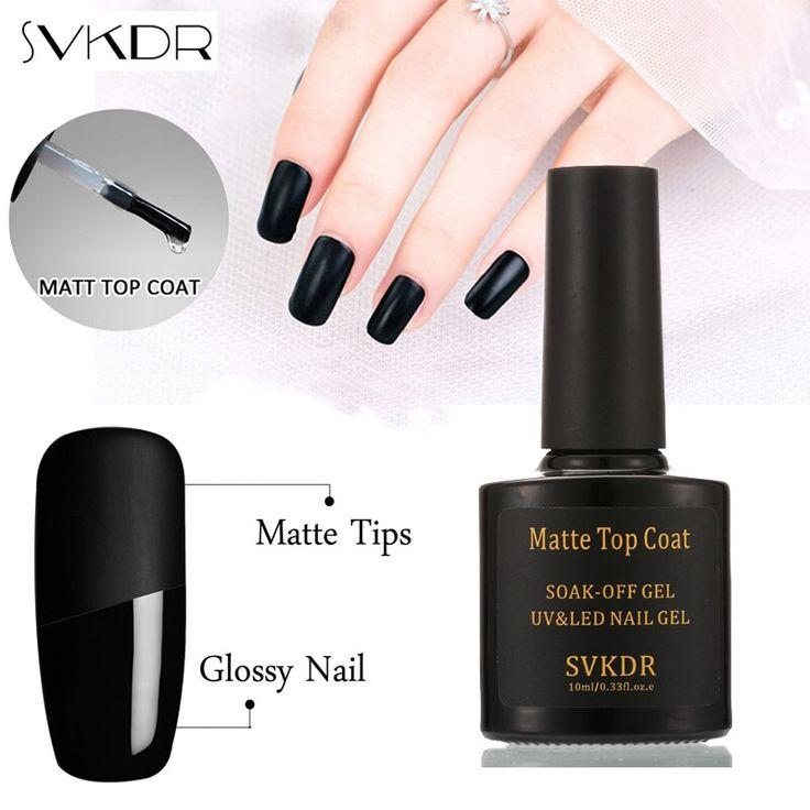 SVKDR 10ml Matte Top Coat UV Gel Nail Polish Soak Off Vernis Semi Permanent Gel …