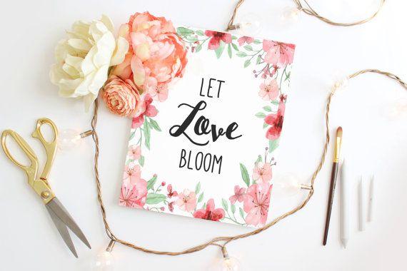 Watercolor flower wreath Wedding sign Wedding print DIY printable Home by Papierscharmants
