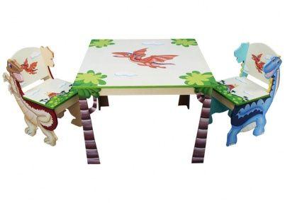 Dinosaurus tafel en twee stoelen, handgemaakt   Tafeltjes & stoelen
