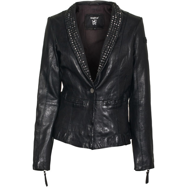 TIGHA Nora Sheep Black Studded leather blazer ($460) ❤ liked on Polyvore