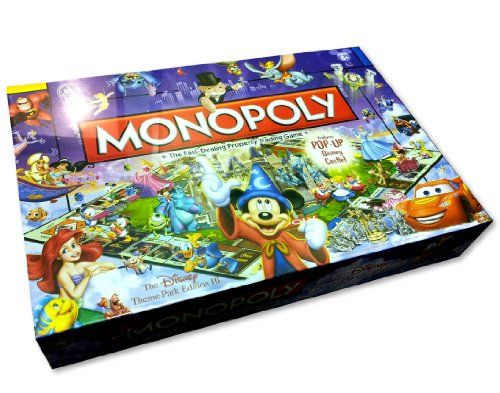 Monopoly® Disney Theme Park Edition III Game lets you relive the excitement of all your favorite attractions at Disney Theme Parks -- from The Haunted Mansion® attraction to the Disney Monorail -- with this very special edition of the classic Monopoly® board game. Magic Mirror and Sorcerers Hat cards might make your dreams come true or they might bring an unexpected trip to jail. Use your Wishes wisely to collect the deeds to Disney Theme Park attractions; increase their value by adding…