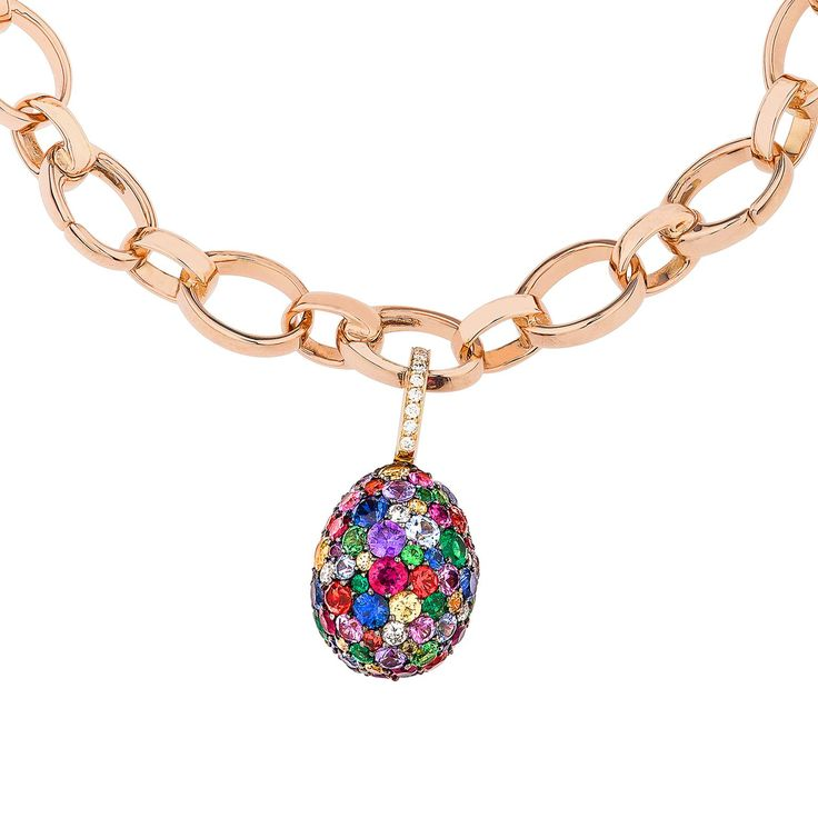 Fabergé Emotion egg charm with multi-coloured gemstones. Discover jewellery that is easter worthy, full of eggs, gems and colour: http://www.thejewelleryeditor.com/jewellery/article/alternative-easter-egg-jewels/ #jewelry