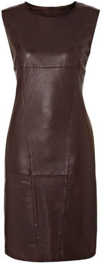 Vallo Short Sleeve Leather Dress - Lyst - Enlarged by ShazB