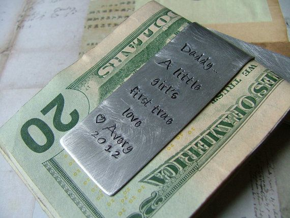 Custom Hand Stamped aluminum money clip, handmade by MyBella.  https://www.facebook.com/media/set/?set=a.565341854634.2038495.140301517=1=notif_t=photo_album_reply#!/MyBellaByLizLollar