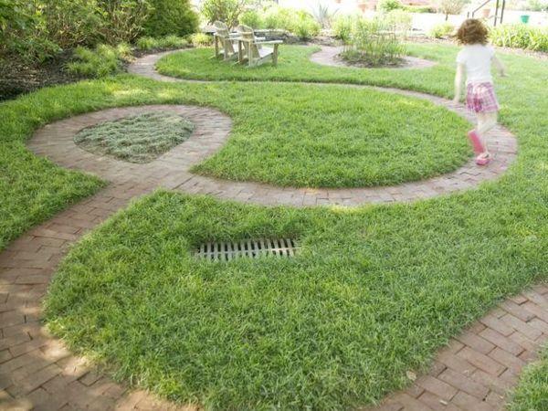 Whimsical curving brick path