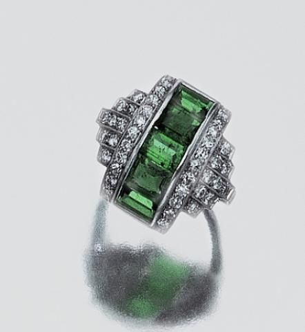 Emerald and Diamond Ring circa 1930.  Doyle Auction House