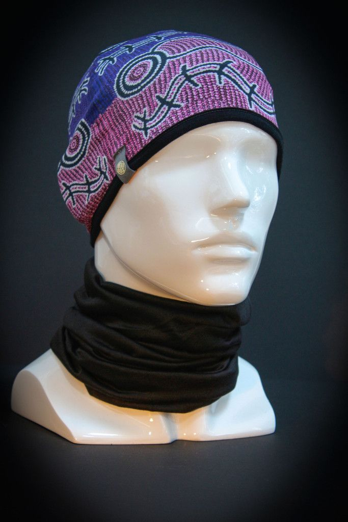 Gorgeous Headsox wearable art - depicting Water Dreaming story by Felicity Nampijinpa Robertson, a Warlukurlangu Artist who lives in Central Australia.  By yours for $19.95 at http://www.headsox.com.au/products/pocket-beanie-water-dreaming